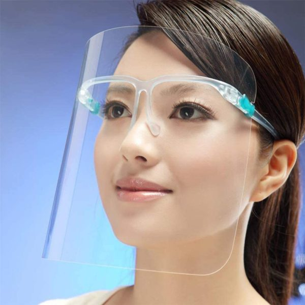 Safety visor on woman face